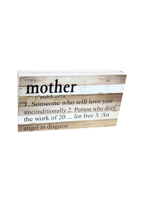 "ITEM KOP 29565 - 13.5""X7.75"" MOTHER DEFINITION WOOD BLOCK SIGN"