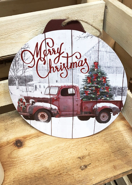 ITEM KOP 41159 - 12inX13in ROUND TRUCK LED WALL ART