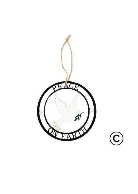 "ITEM KOP 41706 - 4"" METAL ""PEACE ON EARTH"" ORNAMENT ©"