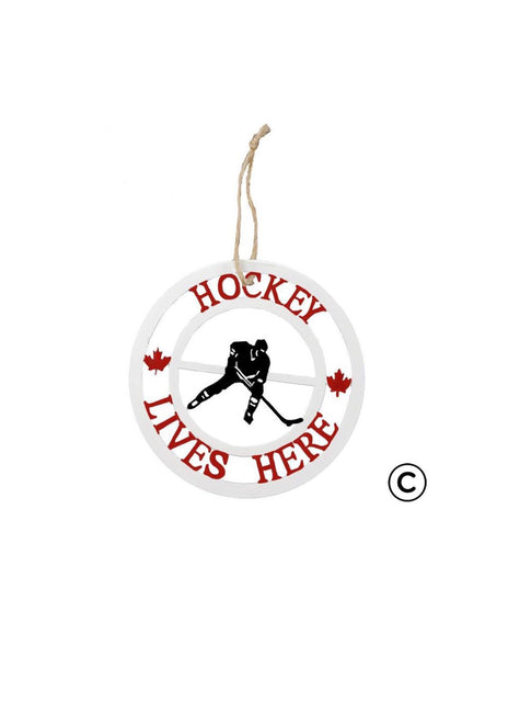 "ITEM KOP 41708 - 4"" METAL ""HOCKEY LIVES HERE"" ORNAMENT ©"