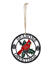 "ITEM KOP 41733 - 4""X4"" CARDINAL SEASONS GREETINGS CIRCLE ORNAMENT ©"