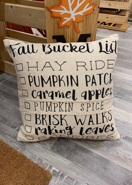 ITEM KOP 41825 - 17.5in X17.5in FALL BUCKET LIST PILLOW