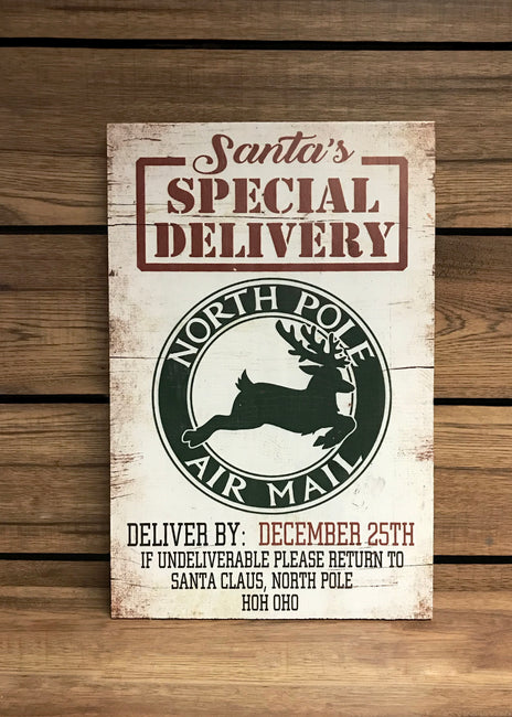 "ITEM KOP 42066 - 11.75""X18"" ""SPECIAL DELIVERY"" WOOD CHRISTMAS SIGN"