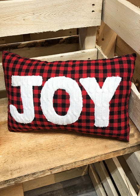 ITEM KOP 46613 - 14inX8inX4.75in RED/BLACK PLAID EMBROIDERED JOY PILLOW