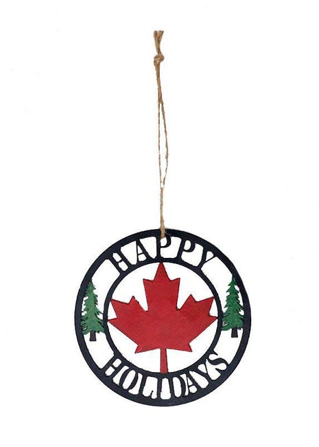 ITEM KOP48874 - 4in X4in CANADA HAPPY HOLIDAYS ORNAMENT