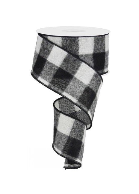 "ITEM RG01756CF - 2.5""X10YD FUZZY BLACK/WHITE LARGE CHECK WIRED RIBBON"
