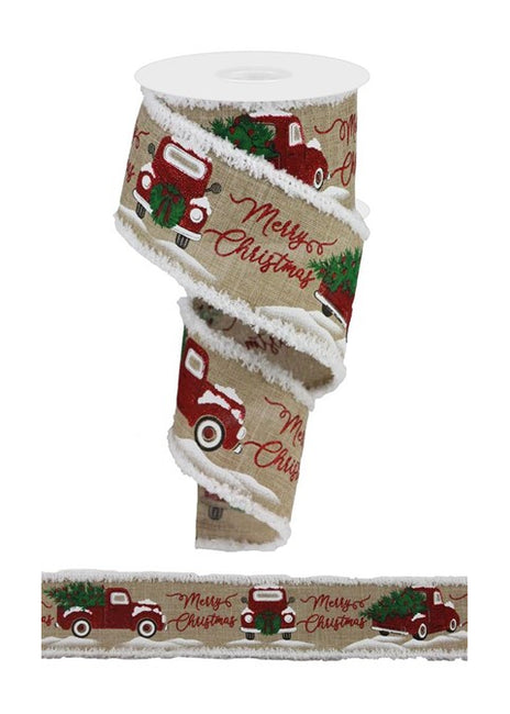 "ITEM RG082751C - 2.5""X10YD LIGHT BEIGE MERRY CHRISTMAS TRUCK WITH TREE RIBBON"
