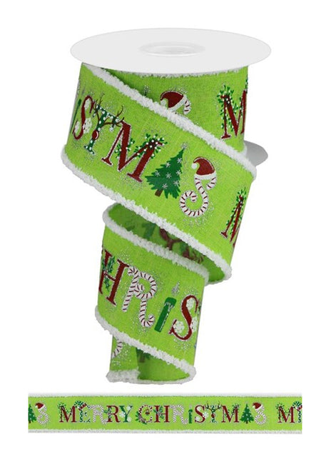 "ITEM RG0861233 - 2.5""X10YD LIME/RED/GREEN MERRY CHRISTMAS IMAGES RIBBON"
