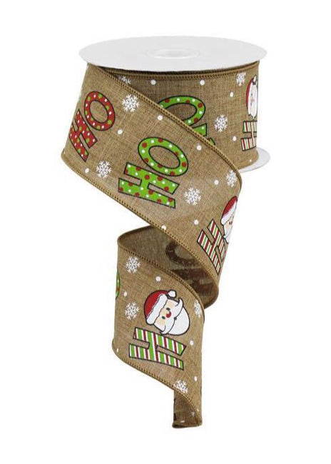 "ITEM RGA1178 F2 - 2.5""X10YD TAN/WHITE/CREAM/RED/LIME ""HO HO HO"" WIRED RIBBON"