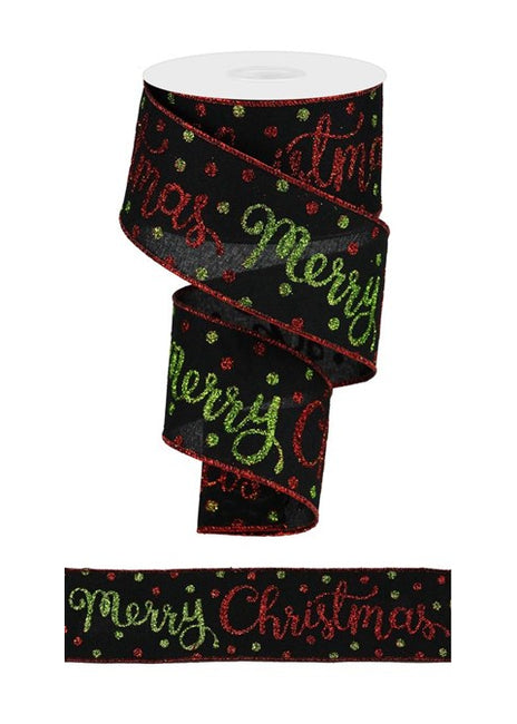"ITEM RGA134802 - 2.5""X10YD BLACK MERRY CHRISTMAS SCRIPT RIBBON"