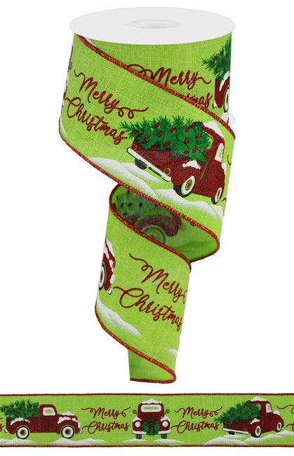 "ITEM RGA190533 - 2.5""X10YD LIME/RED MERRY CHRISTMAS WITH TRUCK RIBBON"
