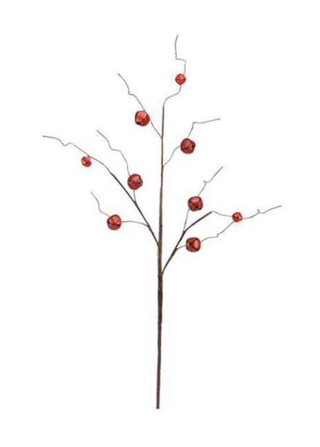 "ITEM XC424348 - 30.5""L RED JINGLE BELL/CURLY TWIG SPRAY WITH 9 BELLS"