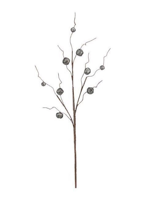 "ITEM XC424349 - 30.5""L PEWTER JINGLE BELL/CURLY TWIG SPRAY WITH 9 BELLS"