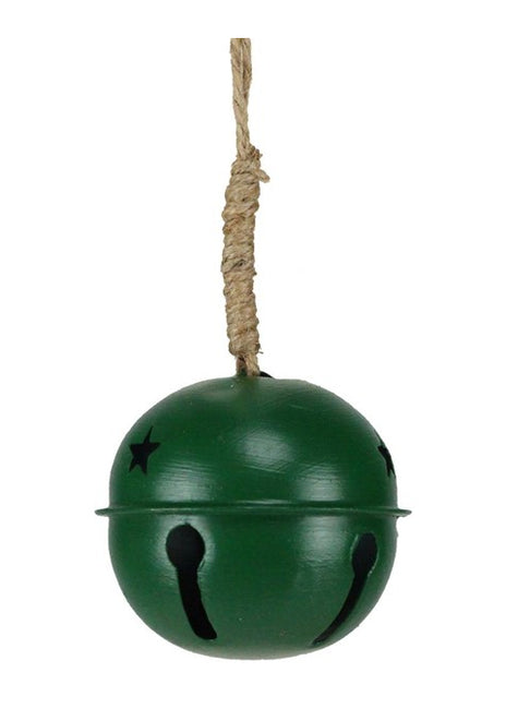"ITEM XC428506 - 3.5"" ANTIQUE GREEN JINGLE BELL WITH JUTE HANGER"