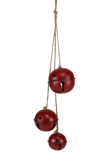 "ITEM XC429050 - 21""L RED JINGLE BELL CLUSTER ORNAMENT SPRAY"