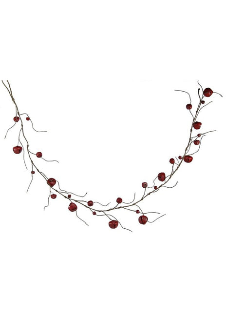"ITEM XC429250 - 60""L RED JINGLE BELL WITH CURLY TWIG GARLAND"