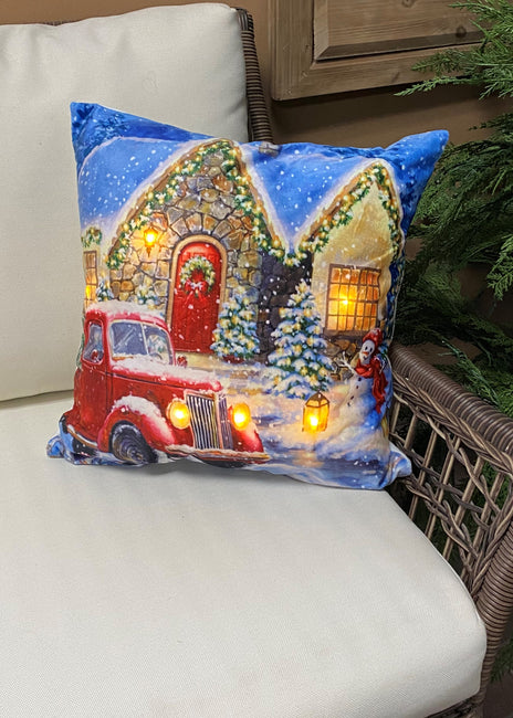 "ITEM XMSH1007 ST - 18""X18"" LED VELVET CUSHION WITH A SNOWMAN AND TRUCK"