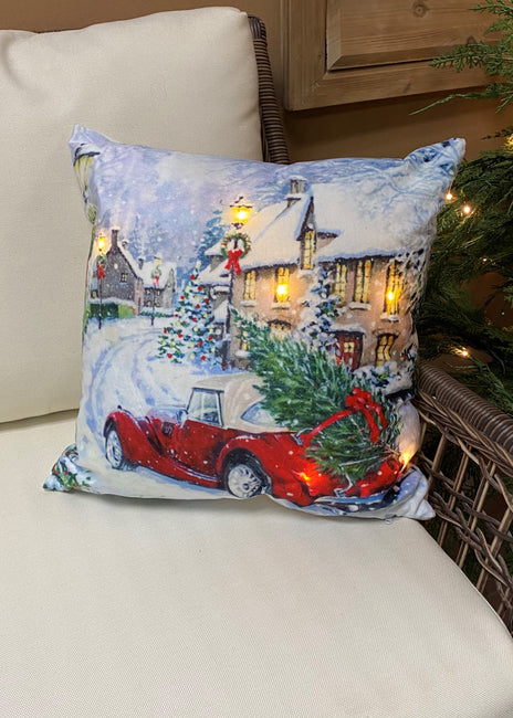 "ITEM XMSH1007 SV - 18""X18"" LED VELVET CUSHION WITH A CAR & TREE"