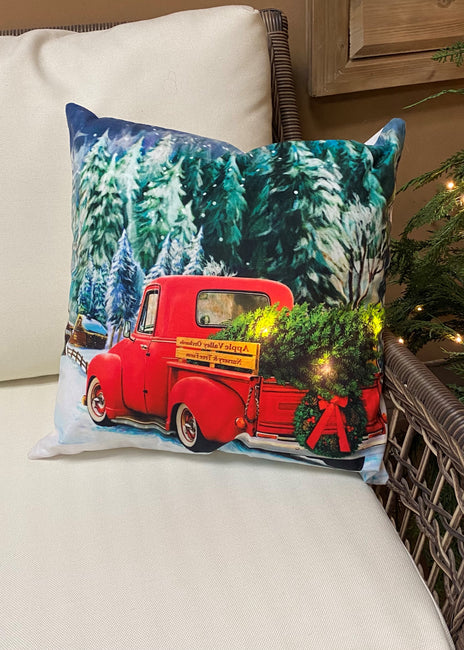 "ITEM XMSH1007 TK - 18""X18"" LED VELVET CUSHION WITH A RED TRUCK AND A TREE"