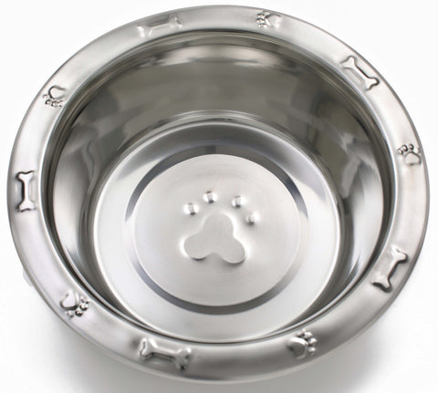 Embossed Rim Standard Dog Pet Food Stainless Steel Bowls