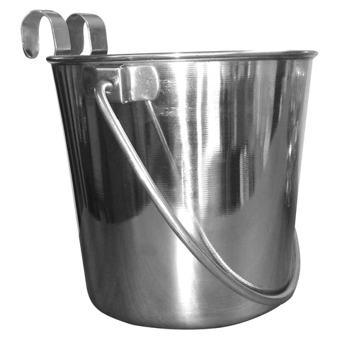 flat sided stainless steel pail - bucket with hooks