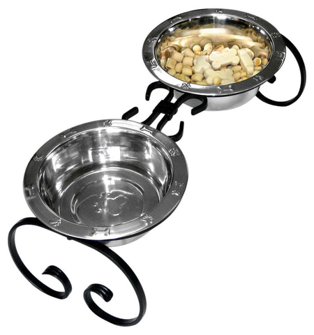 QT Dog Wrought Iron Elevated Dog Food Feeder Raised Diner 10""