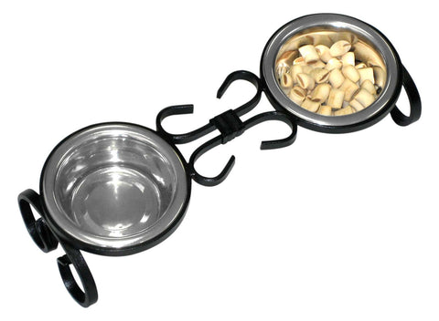 wrought iron elevated dog food feeder - diner comes with two 1 pint stainless steel dog food bowls