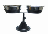 Developed with larger dog breeds in mind these Bar Stool adjustable raised dog food feeders feature hygienic 3 quart stainless steel dog food bowls