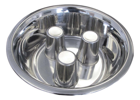 Standard Stainless Steel Brake-Fast Slow Feed Bowl For Feeders
