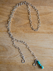 Sterling Silver with Turquoise Drop Face Mask Chain Holder + Necklace