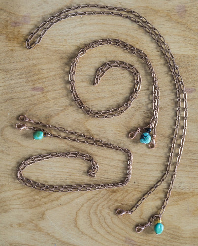 Vintage Copper Chain with a Turquoise Drop Face Mask Chain Holder + Necklace