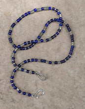 Load image into Gallery viewer, Vintage African blue glass Sterling Silver Beads Lanyard Face Mask Chain Holder  + Necklace