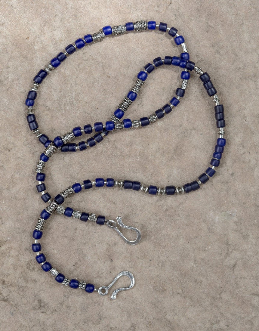 Vintage African blue glass Sterling Silver Beads Lanyard Face Mask Chain Holder  + Necklace