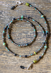 Face Mask Holder Turquoise silver beaded chain Necklace + Eyeglass Holder