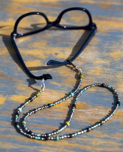 Turquoise silver glass beaded chain Face Mask Holder + Lanyard +Necklace + Eyeglass Holder