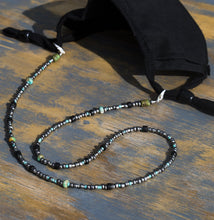 Load image into Gallery viewer, Turquoise silver glass beaded chain Face Mask Holder + Lanyard +Necklace + Eyeglass Holder