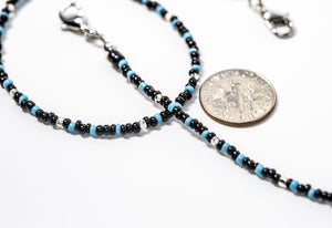 Turquoise · Picture Jasper · Onyx · Silver lined Glass Beaded Lanyard Face Mask Holder + Eyeglass Holder