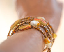 Load image into Gallery viewer, Murano + Czech glass Beaded Wrap Bracelet with copper magnetic clasp or Necklace or Choker