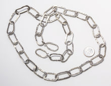 Load image into Gallery viewer, Sterling Silver Oxidized Hammered Oval link Chain Necklace