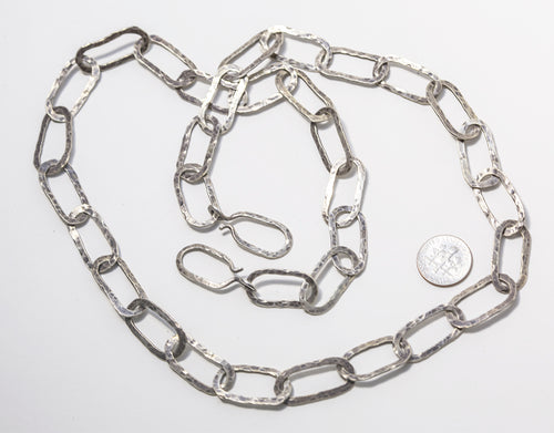 Sterling Silver Oxidized Hammered Oval link Chain Necklace