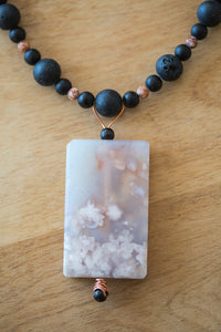 Cherry Blossom Agate Focal Bead with Black Lava Beads + Picture Jasper Beads Necklace