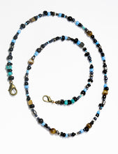 Load image into Gallery viewer, Turquoise · Picture Jasper · Onyx · Silver lined Glass Beaded Lanyard Face Mask Holder + Eyeglass Holder