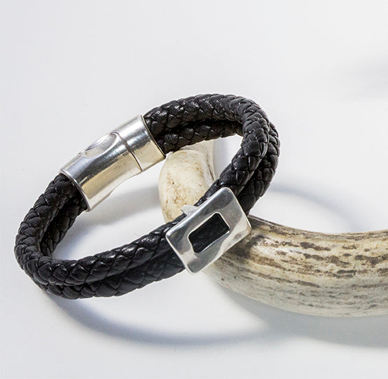 Braided Leather and Silver Magnetic Clasp Bracelet