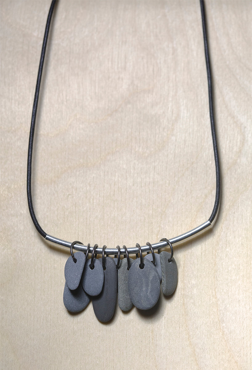Leather • Gray Stones • Sterling Silver Bar • Necklace