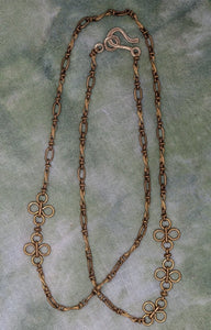 Vintage Brass Daisy Chain Variable Length Necklace