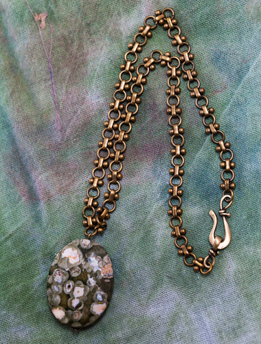 Green Leopard Skin Jasper + Vintage Brass Necklace