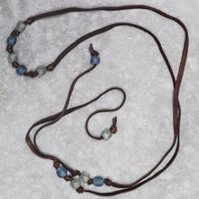 Load image into Gallery viewer, Deerskin Soft Leather and Krobo Tribe Recycled White and Blue Glass Beaded Lariat