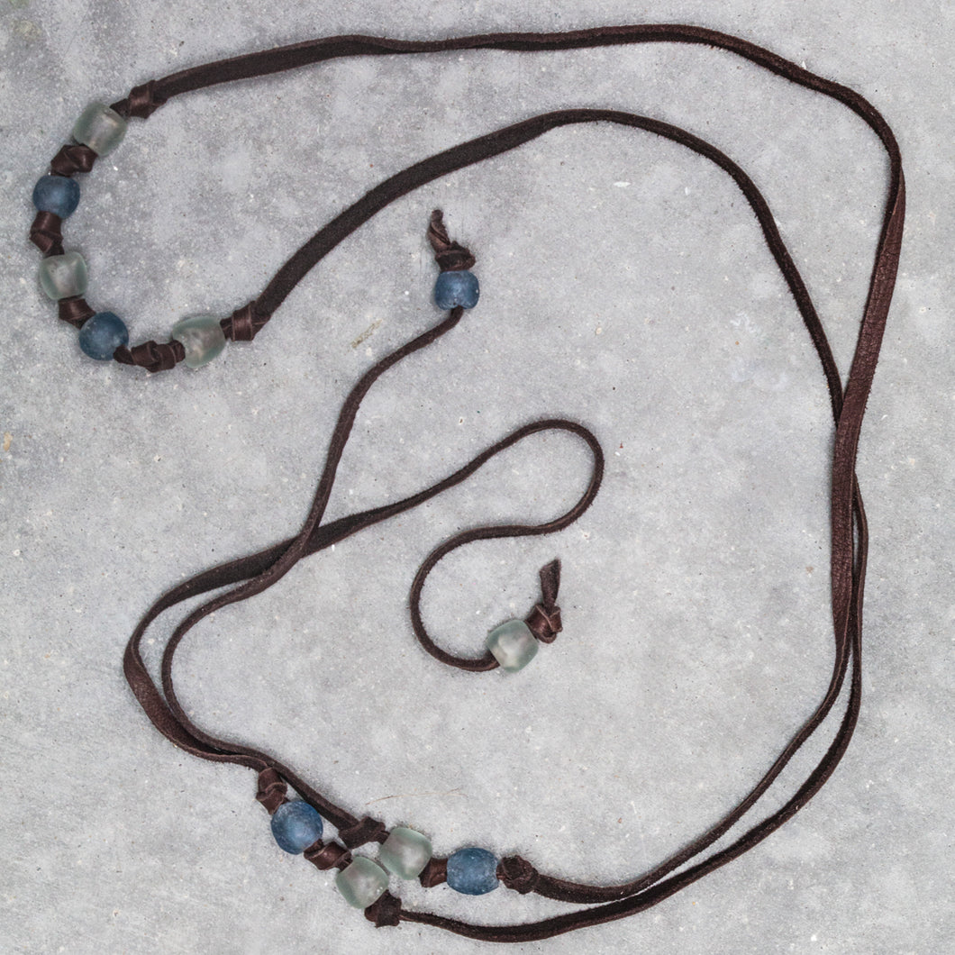 Deerskin Soft Leather and Krobo Tribe Recycled White and Blue Glass Beaded Lariat