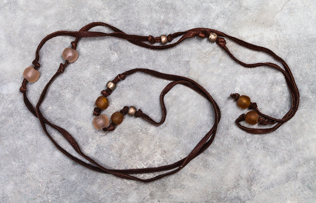 Deerskin Soft Leather with Krobo Tribe Recycled Brown and Rose Glass Beaded Lariat