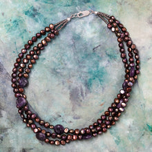 Load image into Gallery viewer, Multi-Strand Freshwater Pearl + Amethyst Necklace